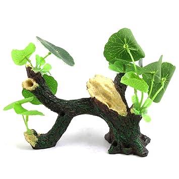 sourcingmap Resina Madera Deriva del Árbol del Tanque del Acuario Pecera Paisaje De La Decoración W/Hojas De Plástico: Amazon.es: Productos para mascotas