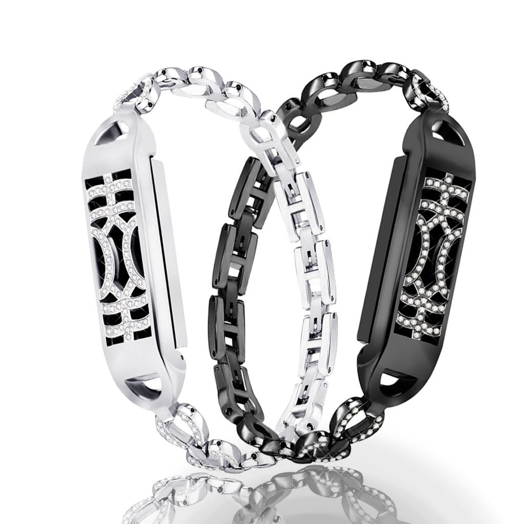 iTerk Compatible Fitbit Flex 2 Bands,Stainless Steel Metal Replacement Wristband Frame Bling Rhinestone Adjustable Bracelet Durable Silver Black Rose Gold