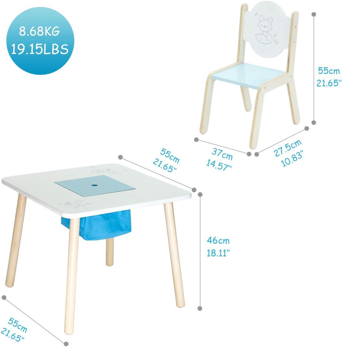 Petite Table /à Oiseaux et 2 chaises HONNIEKIS Table et Chaise en Bois pour Enfants Jouet de Meubles pour Enfants