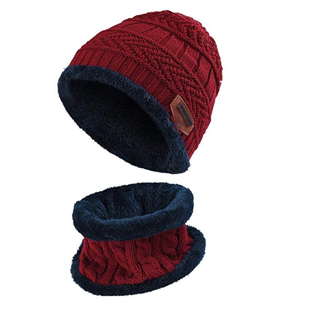 Aispark Kids Winter Knitted Beanie Hat and Scarf Set with Fleece Lining for boys girls (Red)