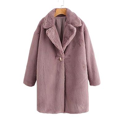 4aece5a6a9 Single Button Faux Fur Longline Coat Winter Coat Women Casual Lapel Long  Sleeve Single Button Knee Length Coat: Amazon.co.uk: Shoes & Bags