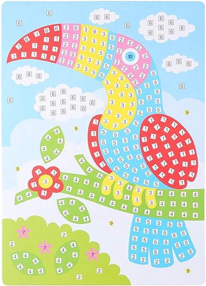 Supvox Pegatinas de Mosaico Kits de Manualidades Pegatinas de Espuma Pegatinas de Dibujo de Rompecabezas Kit de Arte de Aprendizaje Temprano para Ni/ños en Edad Preescolar Ni/ños Ni/ñas