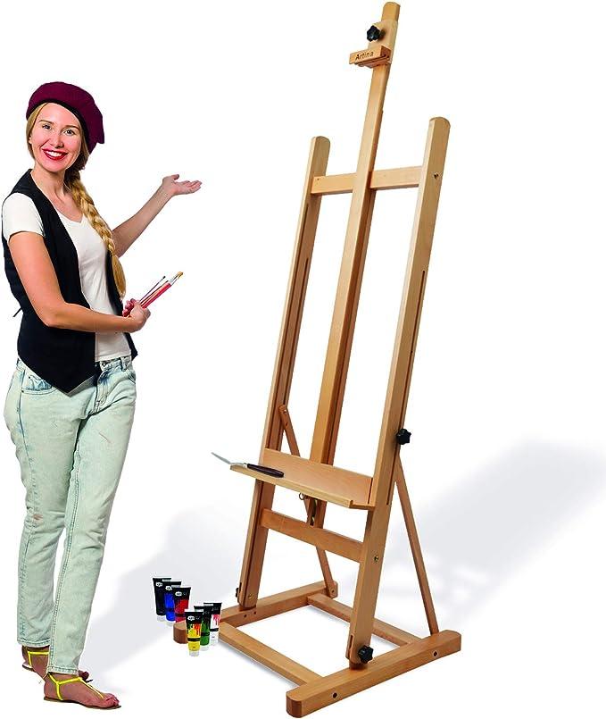 Artina Siena - Caballete de pintura de estudio de pie - Madera de haya lubrificada - Muy estable: Amazon.es: Hogar