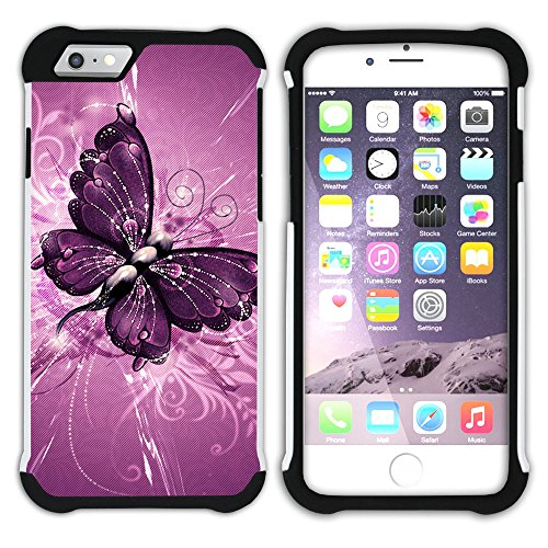- STPlus Purple Butterflies Heavy Duty Shockproof Hard + Soft Rubber Case Cover for Apple iPhone 7 Plus/iPhone 8 Plus