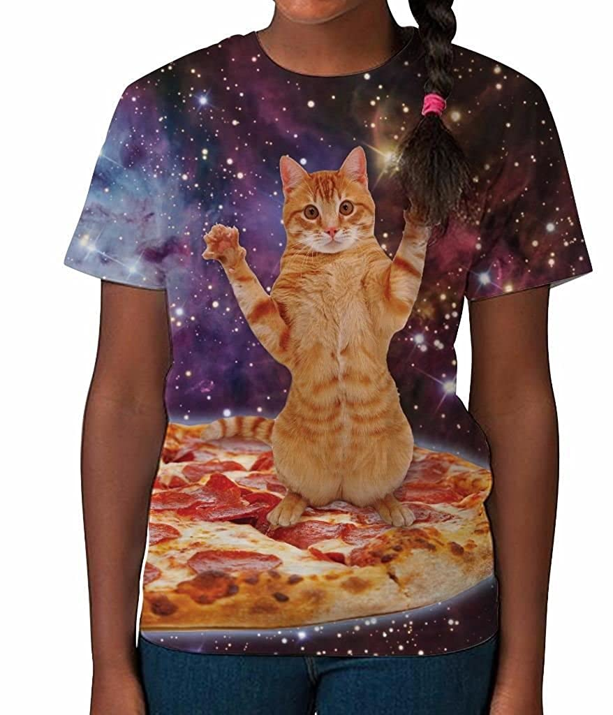 Kids Graphic Tee Youth T Shirt Pizza Cat in Space Clothes for Girls