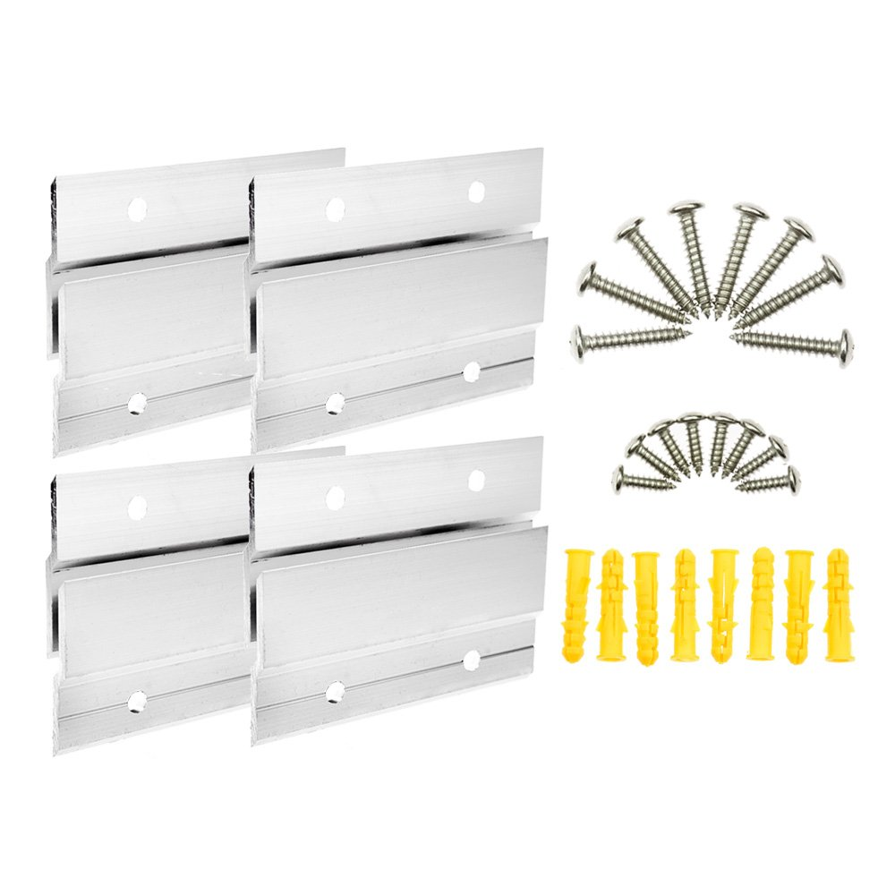 BIGTEDDY - 4'' French Cleat Picture Hangers Hardware Kit Mount Aluminum Z Bar Clips Hanging Mounting Bracket for Mirror Photo Shelf and Cabinet (4 Pairs) by BIGTEDDY (Image #7)