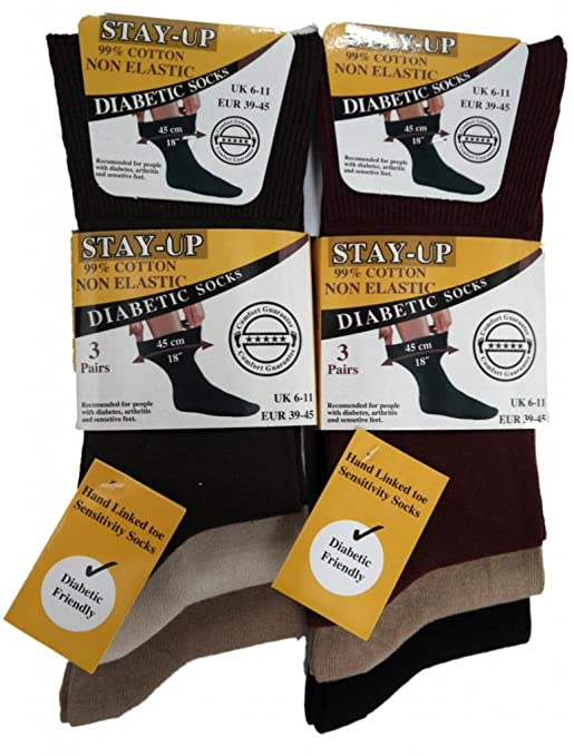 6 Pairs of Mens Stay-Up Non Elastic Loose Top Diabetic Socks 99/% Cotton