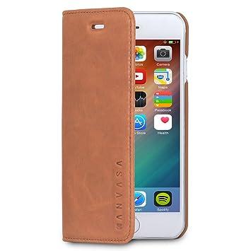 KANVASA Funda iPhone 6 / 6s Tipo Libro Piel Marrón Case Cover Carcasa Plegable Cartera Pro en Piel Auténtica Premium para Apple iPhone 6/6s (4.7