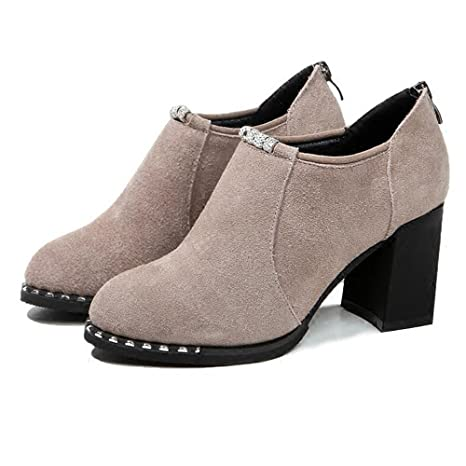 BOTAS HAIZHEN Ladies Girls Botines Zapatos de mujer Tacones Fall Winter Confort Chunky talón del dedo