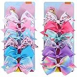 12Pcs Siwa Hair Bows for Girls,5 Inches Hair Bows for Girl Grosgrain Ribbon Hair Barrettes Accessories for Toddler