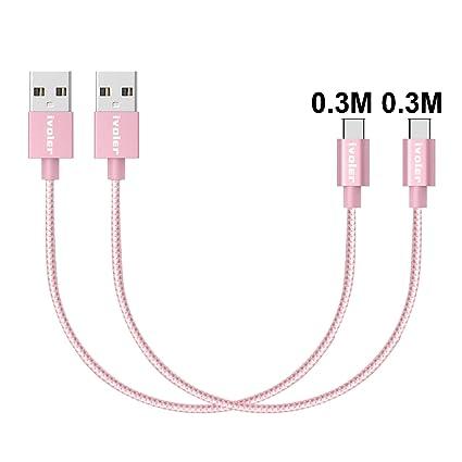 iVoler Cable USB Tipo C a USB A 3.0 [2 Pack: 0.3M+0.3M] Cargador USB Tipo C de Nylon Trenzado Carga Rápida y Sincronización Compatible con Samsung, ...