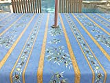 Umbrella Hole Rectangle or Oval Stain Resistant Tablecloth - Please choose the size and shape - Easy Care Provence Olive Branches in Blue Tablecloth -