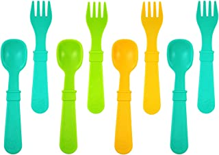 product image for RE-PLAY Made in The USA 8pk Fork and Spoon Utensil Set for Easy Baby, Toddler, and Child Feeding in Aqua, Lime Green and Sunny Yellow | Made from Eco Friendly Recycled Milk Jugs | (Aqua Asst.)