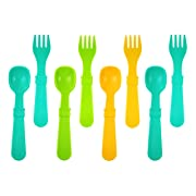 Re-Play 8Pk Utensil Set of Spoons and Forks - Aqua, Sunny Yellow, Green (Aqua Asst)