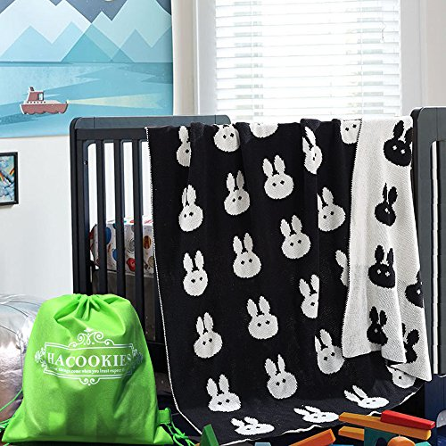 Hacookies,Black and White Rabbit Head Personalized Cashmere Fleece Toddlers Crib Bedding Swaddle Blankets Wrap Trow for Newborn Gifts (Personalized Fleece Blanket)