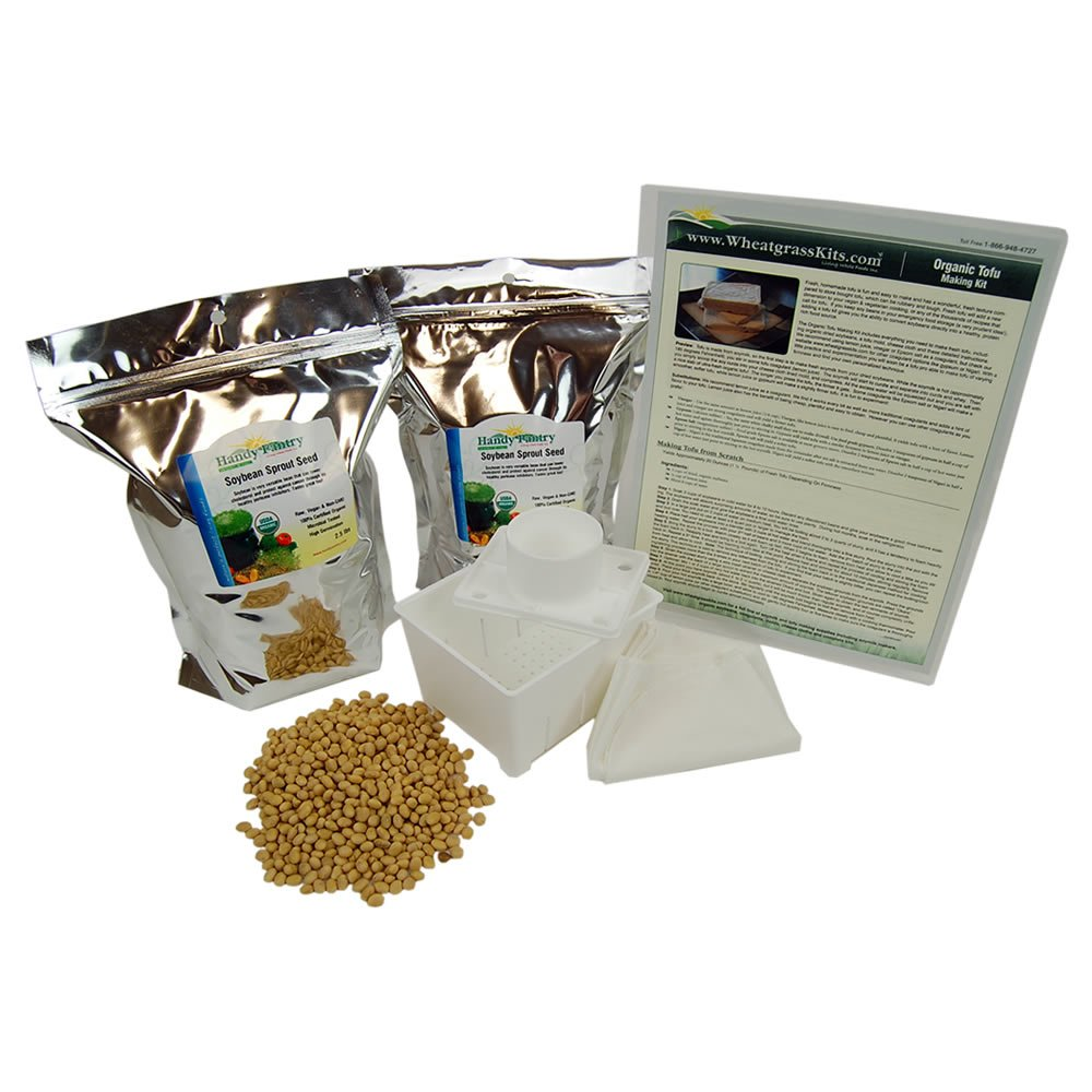 Organic Tofu Making Kit - 5 Lbs. Yellow Soybeans, Large Plastic Tofu Maker Mold/Press, How To Make Instructions, More