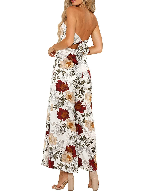 Glamaker Womens Backless Off Shoulder Strapless Floral Print Wide Leg Slit Jumpsuit Romper