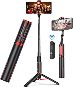 AUSELECT Selfie Stick Tripod, Lightweight Aluminum All in One Extendable Phone Tripod Selfie Stick Bluetooth with Remote for iPhone 11/Xs MAX/XR/XS/X/8/8 Plus/7/7 Plus/6s, Galaxy S10/S9/S9 Plus, More (Black/Red)