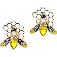 KESYOO 2pcs Alloy Bee Brooches Crystal Pearl Brooch Pin Enamel Animal Lapel Pins Personality Clothing Accessories…