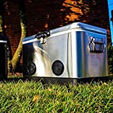 BREKX 54QT Stainless Steel Party Cooler with High-Powered Bluetooth Speakers
