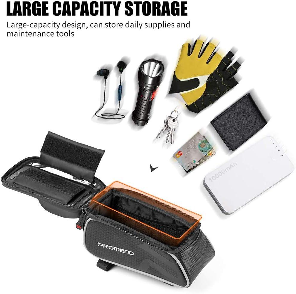 Soporte de tel/éfono de la Bicicleta Impermeable de Gran Capacidad Impermeable para el iPhone//Samsung//Huawei Qweidown Bolso del Cuadro de la Bici