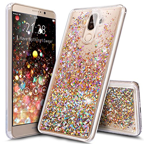 Price comparison product image Huawei Mate 9 Case,ikasus Huawei Mate 9 [Liquid Glitter] Case,Creative Design Quicksand Dynamic Flowing Liquid Floating Bling Glitter Sparkle Diamond Clear Hard Case for Huawei Mate 9,Colorful Gold