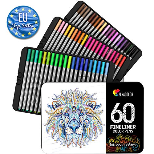 ⭐ 60 Fineliners Pens - 60 Unique Colors (with No Duplicates) - 0.4 mm Fine Tip Felt Pens - Water-based Ink - Perfect for Calligraphy, Precise Drawings, Writing, Adult Coloring Books, Comics, Manga(60)