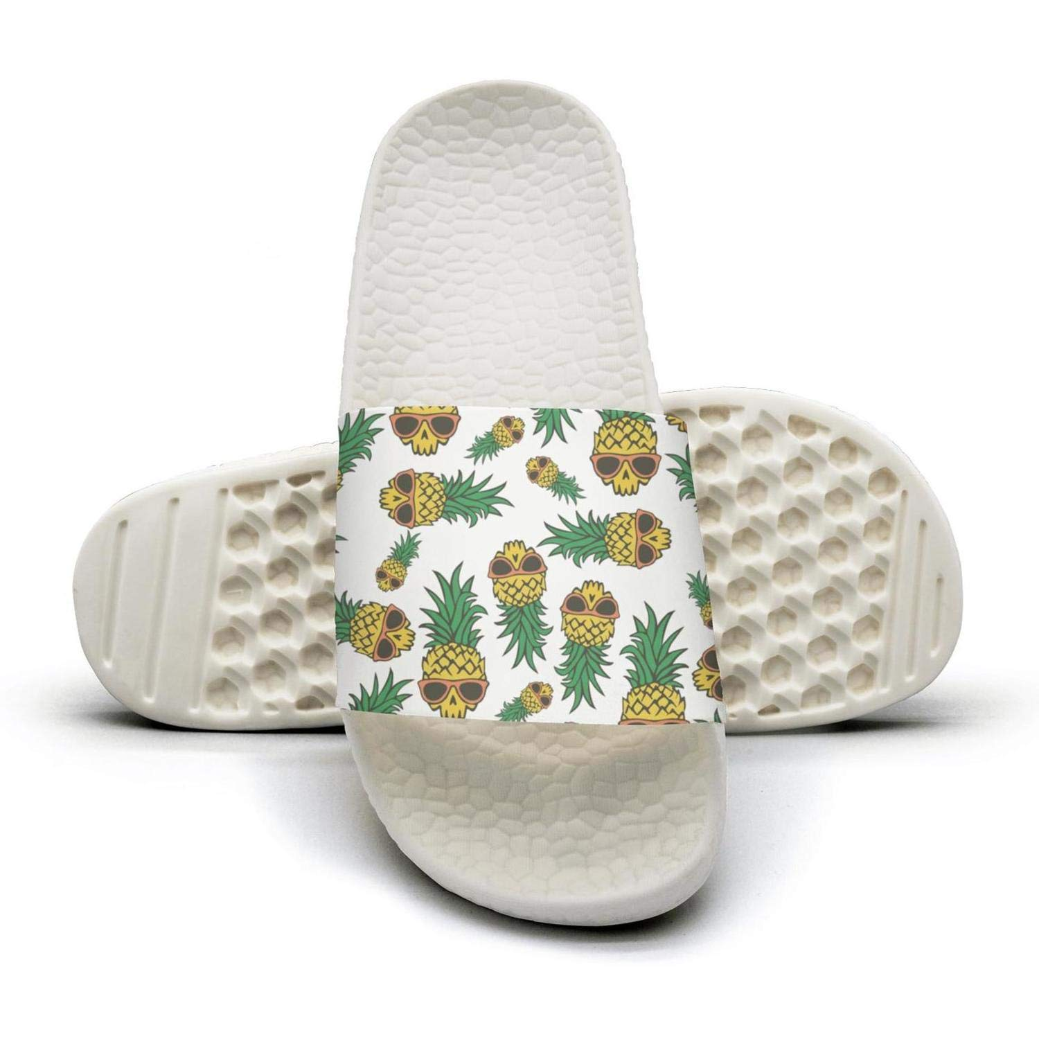 TAKLOOL Pineapple Skull Print Supplies Water Resistance lightweighted Womens Slides Sandals