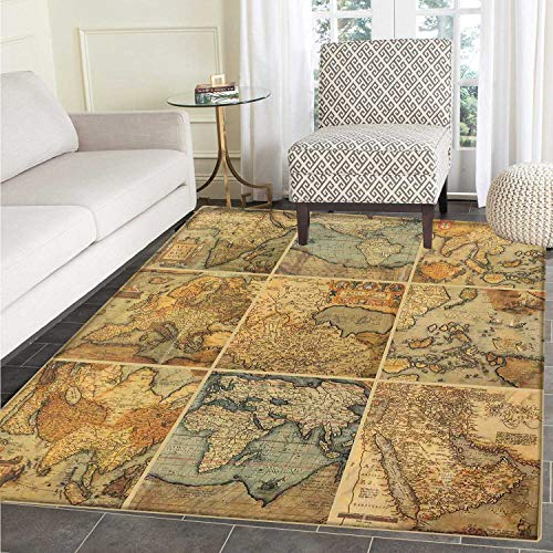 Price comparison product image World Map Anti-Skid Area Rug Collage with Antique Old World Maps Vintage Ancient Collection of Civilization Soft Area Rugs 4'x6' Multicolor