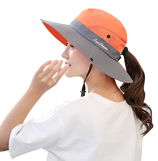 bb2b54be4c1 BOGIWELL Women s Outdoor UV Protection Foldable Mesh Wide Brim Beach  Fishing Hat Orange