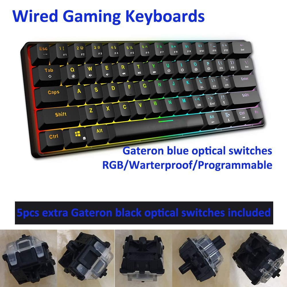 TOOGOO Mechanical Keyboard for PC//Mac Gamer Ergonomic IP67 Waterproof Wrist Rest Typist 61 Keys Optical Switch Multi-color RGB LED Backlit Wired Gaming Keyboard