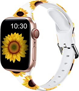 Nofeda Bands Compatible with Apple Watch Band 38mm 40mm iWatch Series 6 5 4 3 2 1 & SE, Slim Silicone Printed Fadeless Replacement Strap Band for Women Men, White Sunflower