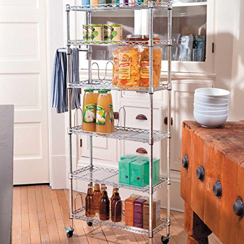 6 Trolley Bottle - 6 Shelf Pantry Rack - Chrome