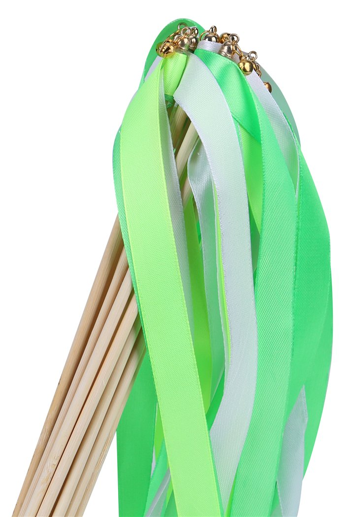 Green 30pcs Ribbon Wands Party Streamers for Wedding Party Activities