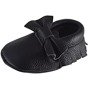 Unique Baby Leather Bow Moccasins Anti-Slip Tassels Prewalker Toddler Shoes (M (5.5 inches, Black)