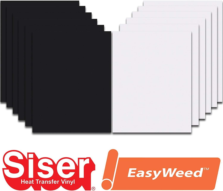 Black, White, 12 x 15 Siser EasyWeed Heat Transfer Vinyl HTV for T-Shirts 12 x 15 Inches 12 Precut Sheets