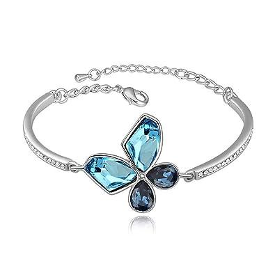 Amazon.com  Girl-Shop Swarovski Elements Crystal Bracelet Butterfly Gold  Plated Bracelet Green Jewelry Wholesale 856f96828