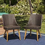 Desmond | Wicker Outdoor Dining Chairs | Set of 2 | Perfect for Patio | in Multibrown with Light Brown Finish