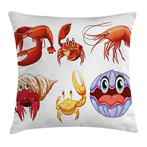 Queolszi Crabs Decor Throw Pillow Cushion Cover, Illustration of Sea Animals Like Crab Hermit Crab Lobster Shell Shrimp Print, Decorative Square Accent Pillow Case, 22 X 22 Inches, Orange Yellow]()