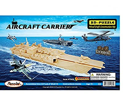 3-D Wooden Puzzle - Aircraft Carrier Ship Model -Affordable Gift for your Little One! Item #DCHI-WPZ-P048