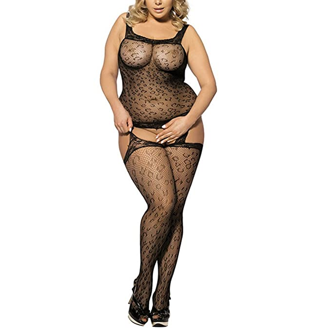 492723e3da4 MIUNIKO Women Sexy Crotchless Lingerie Plus Size Flirt Tights Bodystocking  Nightwear (M