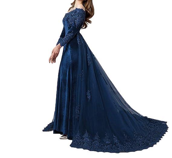 Lejy Vintage Long Sleeves Velvet Evening Gown Off The Shoulder