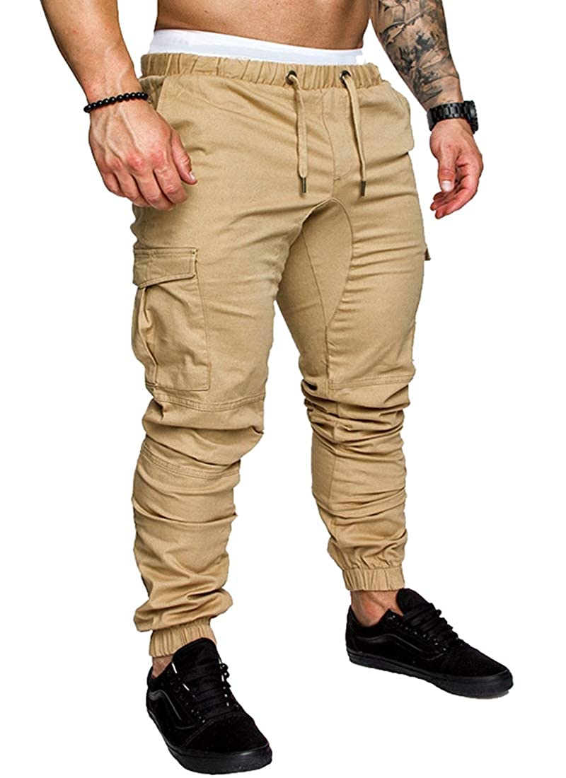 Generic Mens Cargo Pants Slim Fit Casual Jogger Pant Chino Trousers Running Pants