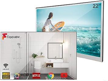 Soulaca Slimme Spiegel Badkamer Tv 22 Inch Ip66 Waterdichte Met Wi Fi Geintegreerde Luidsprekers Amazon Nl