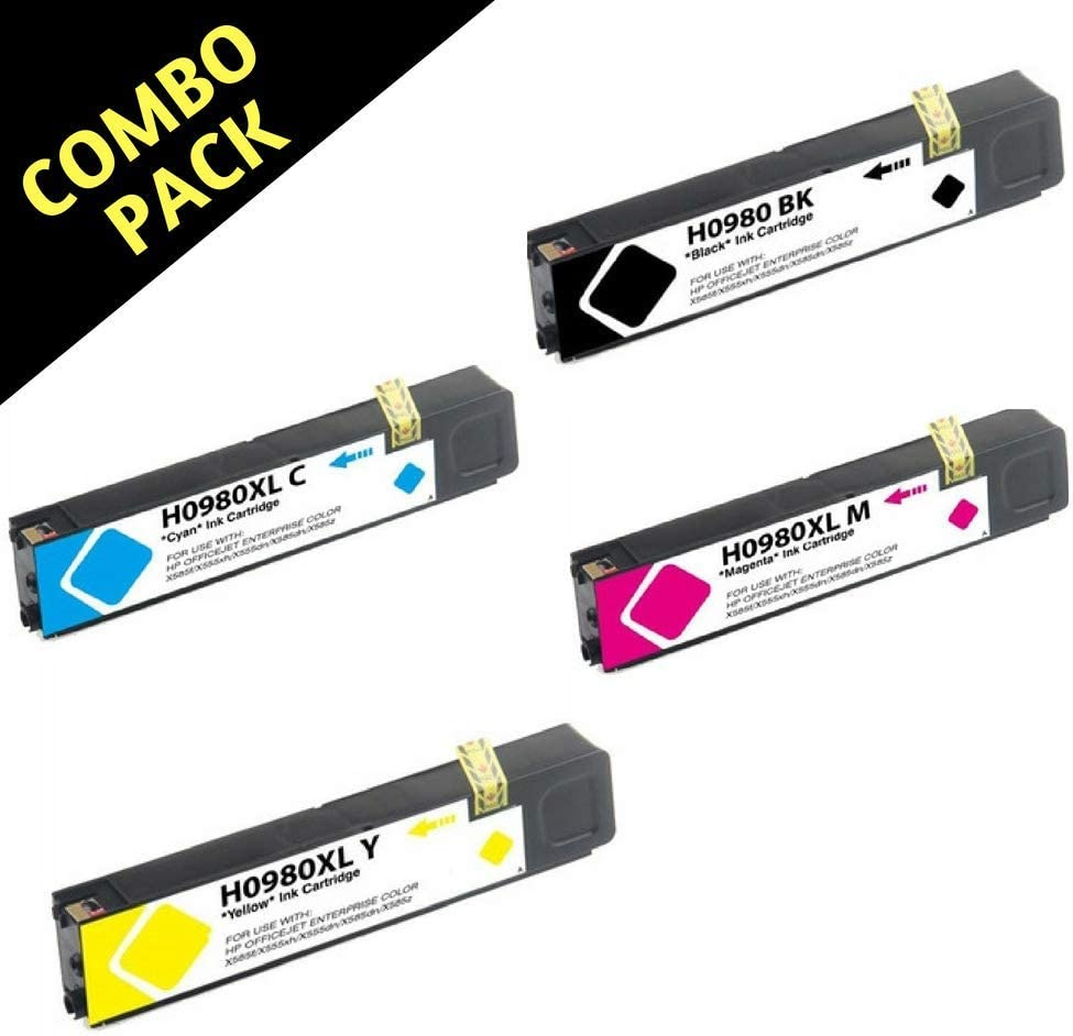 1 Black D8J10A,1 Cyan D8J07A,1 Magenta D8J08A,1 Yellow D8J09A Best Ink Remanufactured Replacement for HP 980 Combo Pack of 4 Ink Cartridges