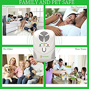 Evolve Ultrasonic/electromagnetic pest repeller - indoor plug-in pest control repellent with night light function