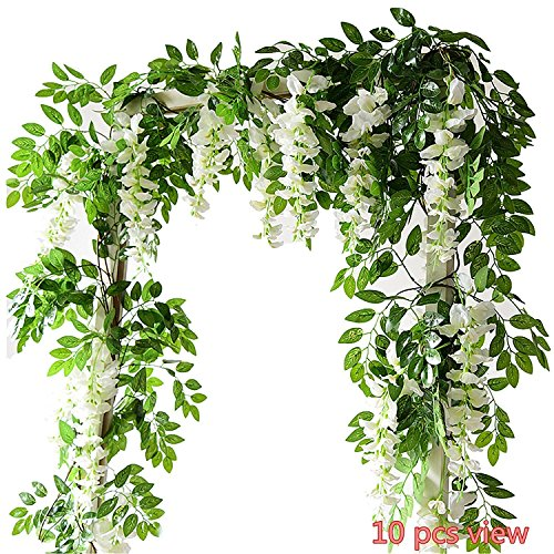Miracliy Artificial Flowers Vine 2 Pcs 6.6ft Fake Silk Wisteria Ivy Vine Rattan Hanging Garland for Home Party Wedding Decor, White - Natural Rattan Blades