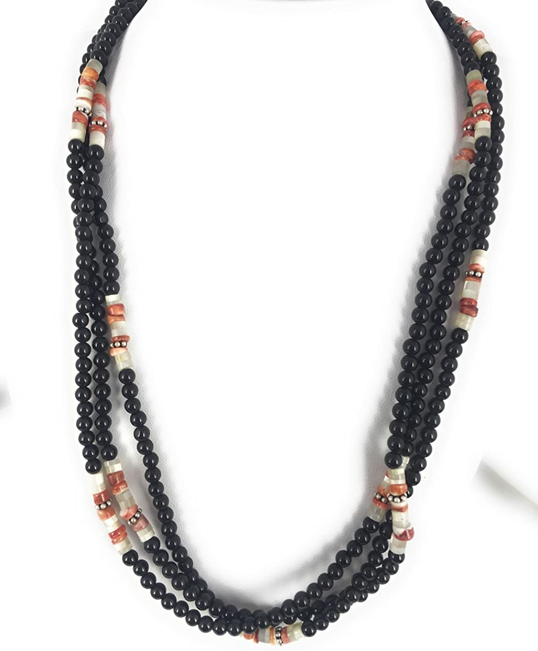 3 Strand Wedding Gift Made in USA Onyx Spiny Oyster Ship Within 24 Hours Exclusive Southwestern Handmade Jewelry Sterling Silver Necklace Turquoise