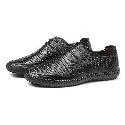 Hongjun-shoes, Zapatos de Punta Redonda para Hombre de Cuero Genuino de Piel de