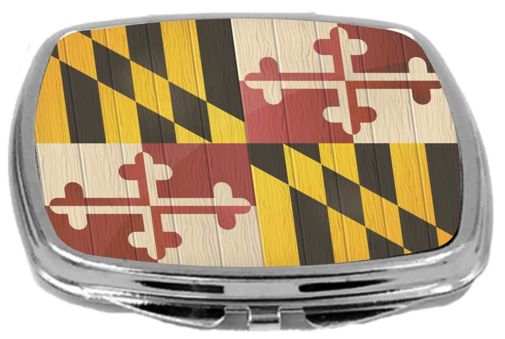 Rikki Knight Compact Mirror on Distressed Wood Design, Maryland Flag, 3 Ounce